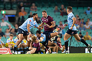 SYDNEY, NSW - MARCH 09: Reds player Isaac Lucas (15) hit in a big tackle from Waratahs player Adam Ashley-Cooper (13) at round 4 of Super Rugby between NSW Waratahs and Queensland Reds on March 09, 2019 at The Sydney Cricket Ground, NSW. (Photo by Speed Media/Icon Sportswire)