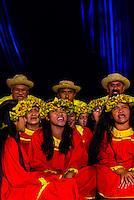 Te Ohi Vaihonuroa choir performing during in the Winners Showcase, the final night of the Heiva i Tahiti (July cultural festival), Place Toata, Papeete, Tahiti, French Polynesia.