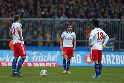 Football: Germany, 1. Bundesliga<br /> Pierre-Michel Lasogga (Hamburger SV, HSV), Ouasim Bouy (HSV), Tolgay Arslan (Hamburger SV, HSV)