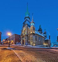 Picture of Chapelle Notre-Dame-de-Bonsecours church at the blue hour in winter, viewed from Rue Saint-Paul, Old Montreal, Old Port, Quebec, Canada