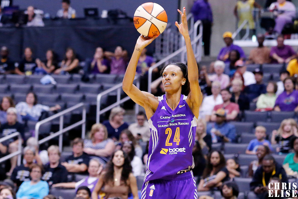 18 May 2014: Phoenix Mercury guard/forward DeWanna Bonner (24) takes a jumpshot during the Phoenix Mercury 74-69 victory over the Los Angeles Sparks, at the Staples Center, Los Angeles, California, USA.