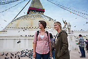 Ruth and Rosa Hollows at Boudhanath Stupa in Kathmandu before the journey to Pullarhari Monestry for the outreach micro surgical eye camp held on the outsirks of the Kathmandu Valley 2014.