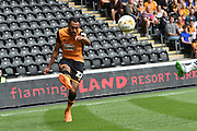 Ahmed Elmohamady  makes cross during the Sky Bet Championship match between Hull City and Preston North End at the KC Stadium, Kingston upon Hull, England on 29 August 2015. Photo by Ian Lyall.
