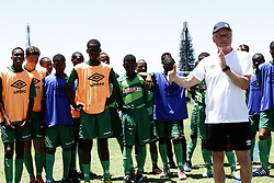 DURBAN - 26 January 2014 - Membvers of AmaZulu's Under 17 squad looks on as Dutch coach Foppe de Haan speak to than a 100 coaches who attended a coaching clinic hje held at Durban's Northwood High School over the weekend. Picture: Allied Picture Press/APP