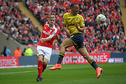 Marc Roberts (Barnsley) clears the ball during the Johnstone's Paint Trophy Final between Barnsley and Oxford United at Wembley Stadium, London, England on 3 April 2016. Photo by Mark P Doherty.