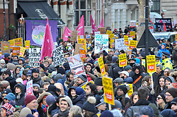 © Licensed to London News Pictures. 28/02/2018. LONDON, UK.  Members of the University College Union (UCU) march through central London to protest against cuts to their pensions.  Photo credit: Stephen Chung/LNP