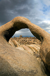 Arch looking through to rock formations, Alabama Hills Recreation Lands, Lone Pine, California