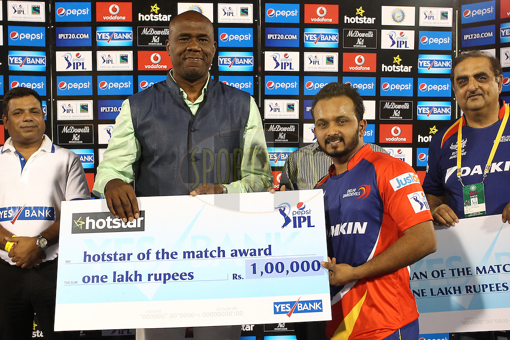 Kedar Jadhav of the Delhi Daredevils receives the Hotstar of the Match Award during match 45 of the Pepsi IPL 2015 (Indian Premier League) between The Delhi Daredevils and the Sunrisers Hyderabad held at the Shaheed Veer Narayan Singh International Cricket Stadium in Raipur, India on the 9th May 2015.<br /> <br /> Photo by:  Shaun Roy / SPORTZPICS / IPL
