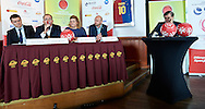 Warsaw, Poland - 2016 November 25: (L-R) Marcin Widomski (President of Polish Basketball League) and Grzegorz Bachanski (President of Polish Basketball Association) and Joanna Styczen - Lasocka (National General Director of Special Olympics Poland) and Miroslaw Krogulec (director sport's department of Special Olympics Europe/Eurasia) and Zygmunt Chajzer tv journalist (Ambassador of Special Olympics Poland) while Special Olympics Basketball Press Conference at Marriott Champions Sport Bar on November 25, 2016 in Warsaw, Poland.<br /> <br /> Adam Nurkiewicz declares that he has no rights to the image of people at the photographs of his authorship.<br /> <br /> Picture also available in RAW (NEF) or TIFF format on special request.<br /> <br /> Any editorial, commercial or promotional use requires written permission from the author of image.<br /> <br /> Image can be used in the press when the method of use and the signature does not hurt people on the picture.<br /> <br /> Mandatory credit:<br /> Photo by © Adam Nurkiewicz / Mediasport
