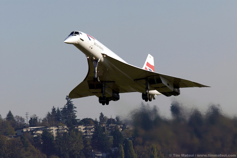 A British Airways Concorde passenger jet lands at Boeing Field in south Seattle on Wednesday, November 5, 2003 in Seattle, Washington. This Concorde was donated after decommisioning by British Airways and is one of four outside of Europe and the only one on the west coast of the United States. The pilot, Cpt. Mike Bannister, broke the world speed record from New York to Seattle on this historic last flight with by going supersonic over Canada for a time of 3 hours, 55 minutes, and 12 seconds. (Photo by Tim Matsui/Getty Images)