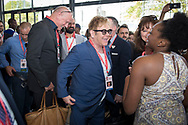 21st International AIDS Conference (AIDS 2016), Durban, South Africa.<br /> Photo shows Sir Elton John at the HIV Protest Wall.<br /> Photo&copy;International AIDS Society/Steve Forrest/Workers' Photos