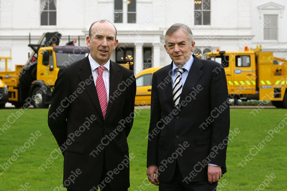 19/09/08<br /> Professor Don Barry President of University of Limerick (right) and John Campion, ESB Executive Director for Sustainability (left) Pictured today at Plassey House, University of Limerick as ESB launched in partnership with the University of Limerick a pilot project which introduces the use of bio fuels to ESB's commercial vehicles, one of the largest fleets in the country. <br /> Pic: Don Moloney/Press 22<br /> PRESS RELEASE <br /> ESB Launches and Promotes the use of Bio Fuel Vehicles in its Networks Fleet.<br /> ESB today (Friday 19th&nbsp;Sept) launched in partnership with the University of Limerick a pilot project which introduces the use of bio fuels to ESB's commercial vehicles, one of the largest fleets in the country. <br /> &nbsp;<br /> This initial phase involves almost 100 bio diesel powered vehicles, ranging from small vans to large 4 wheel drive hoists, all part of the ESB Network fleet. <br /> &nbsp;<br /> The bio diesel used by these vehicles is provided by&nbsp;Munster based Eco Ola and is sourced from rape seed grown as a rotation crop by Irish farmers. <br /> &nbsp;<br /> University of Limerick will monitor and analyse the performance and maintenance of the bio fuel vehicles over an 18 month period. The trials will involve testing different bio fuel mixtures ranging from 30% bio diesel up to 100%. The results will highlight the most efficient mixture of&nbsp;mineral diesel and bio diesel&nbsp;with the view to extending the use of bio fuel in its fleet. <br /> The introduction of these bio fuel vehicles&nbsp;is part of ESB's recently announced ?22billion investment programme which is focused on renewables and carbon reduction. The company is committed to halving its carbon output in 12 years and becoming net Carbon Zero by 2035. <br /> Launching the initiative, John Campion, ESB Executive Director for Sustainability said ?The introduction of Irish sourced bio fuel to the ESB fleet is one of a number of initiatives the company is currently undertaking to reduce its overall carbon output. The transport sector is a major producer of carbon emiss
