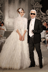 German designer Karl Lagerfeld makes an appearance during Chanel Fall-Winter 2012-2013 Haute Couture collection show held at Grand Palais  in Paris, France, on July 3, 2012. Photo by Frederic Nebinger/ABACAPRESS.COM