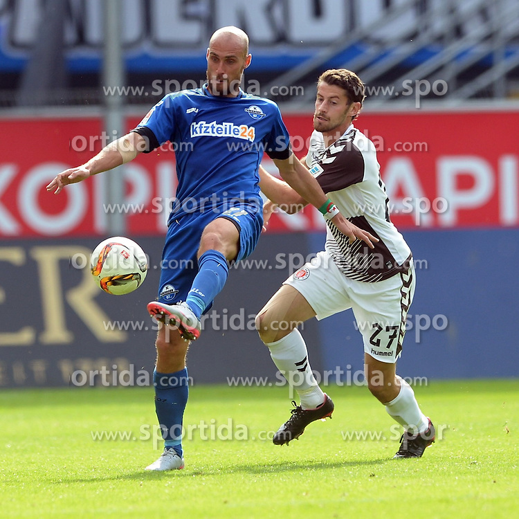 26.09.2015, Benteler Arena, Paderborn, GER, 2. FBL, SC Paderborn 07 vs FC St. Pauli, 9. Runde, im Bild Zweikampf zwischen Daniel Brueckner (SC Paderborn 07) (L) und Jan-Philipp Kalla (FC St. Pauli) // during the 2nd German Bundesliga 9th round match between SC Paderborn 07 and FC St. Pauli at the Benteler Arena in Paderborn, Germany on 2015/09/26. EXPA Pictures &copy; 2015, PhotoCredit: EXPA/ Eibner-Pressefoto/ Sippel<br /> <br /> *****ATTENTION - OUT of GER*****