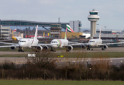 © Licensed to London News Pictures. 29/02/2016. Gatwick, UK. Planes backed up waiting to take off from a reserve runway at Gatwick Airport in West Sussex, where the main runway has been closed due to a spillage. The main runway remains closed to all flights. Photo credit: Peter Macdiarmid/LNP