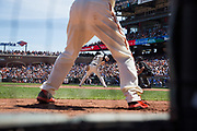 San Francisco Giants third baseman Christian Arroyo (22) bats against the Los Angeles Dodgers at AT&T Park in San Francisco, California, on April 27, 2017. (Stan Olszewski/Special to S.F. Examiner)