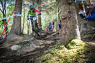 Greg Williamson of 'Cube Global Squad Protected by Bliss' during the qualifying  round of the UCI Mountain Bike World Cup at Fort William in Scotland.