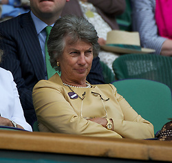 LONDON, ENGLAND - Saturday, July 2, 2011: Virgina Wade watches the Ladies' Doubles Final match on day twelve of the Wimbledon Lawn Tennis Championships at the All England Lawn Tennis and Croquet Club. (Pic by David Rawcliffe/Propaganda)