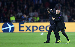 Tottenham Hotspur manager Mauricio Pochettino (left) and Toni Jimenez celebrate after their side scores a third goal