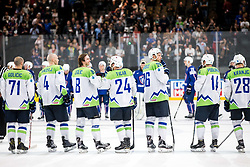 Bostjan Golicic of Slovenia, Andrej Tavzelj of Slovenia, Ziga Jeglic of Slovenia, Rok Ticar of Slovenia, Jan Urbas of Slovenia, Matic Podlipnik of Slovenia and Ales Kranjc of Slovenia after the 2017 IIHF Men's World Championship group B Ice hockey match between National Teams of France and Slovenia, on May 15, 2017 in AccorHotels Arena in Paris, France. Photo by Vid Ponikvar / Sportida