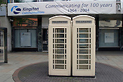 White telephone boxes operated by Kingston Communications formerly The Hull City Telephone Department of the City Council....