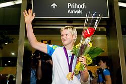 Gold judo medalist Urska Zolnir during reception of Slovenian Olympic team, on August 5, 2012 in Airport Joze Pucnik, Brnik, Slovenia. (Photo by Vid Ponikvar / Sportida.com)