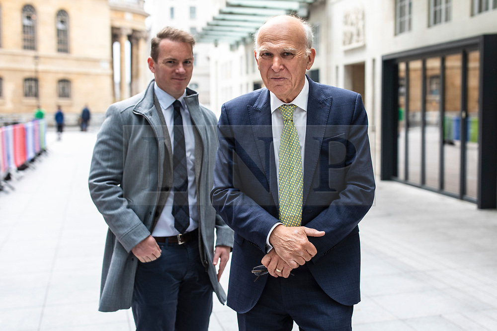© Licensed to London News Pictures. 19/05/2019. London, UK. Leader of the Liberal Democrats Sir Vince Cable leaves BBC Broadcasting House after appearing on The Andrew Marr Show. Photo credit: Rob Pinney/LNP
