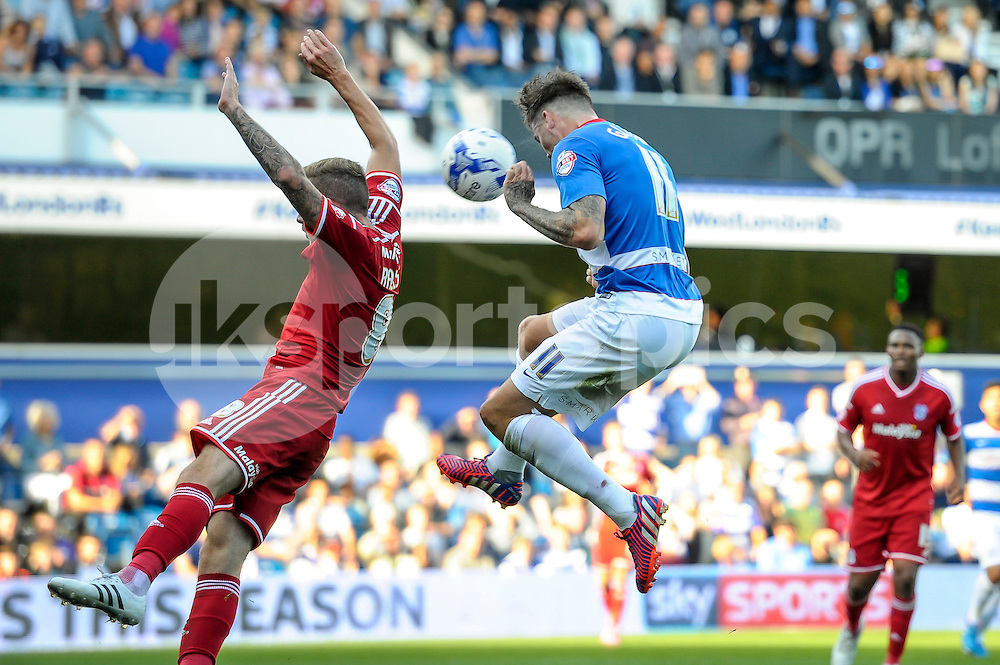 Ben Gladwin of Queens Park Rangers has a shot at goal with a header during the Sky Bet Championship match between Queens Park Rangers and Cardiff City at the Loftus Road Stadium, London, England on 15 August 2015. Photo by Salvio Calabrese.