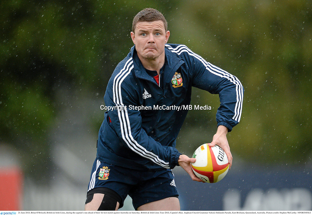 21 June 2013; Brian O'Driscoll, British & Irish Lions, during the captain's run ahead of their 1st test match against Australia on Saturday. British & Irish Lions Tour 2013, Captain's Run. Anglican Church Grammar School, Oaklands Parade, East Brisbane, Queensland, Australia. Picture credit: Stephen McCarthy / SPORTSFILE