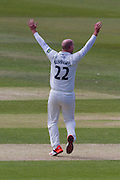 Chris Rushworth (Durham County Cricket Club)celebrates taking the wicket of Alex Barrow(Somerset County Cricket Club) during the LV County Championship Div 1 match between Durham County Cricket Club and Somerset County Cricket Club at the Emirates Durham ICG Ground, Chester-le-Street, United Kingdom on 9 June 2015. Photo by George Ledger.