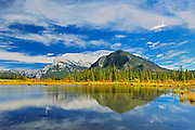 Mt. Rundle and Sulphur Mouantain reflected in Vermillion Lakes<br /> Banff National Park<br /> Alberta<br /> Canada