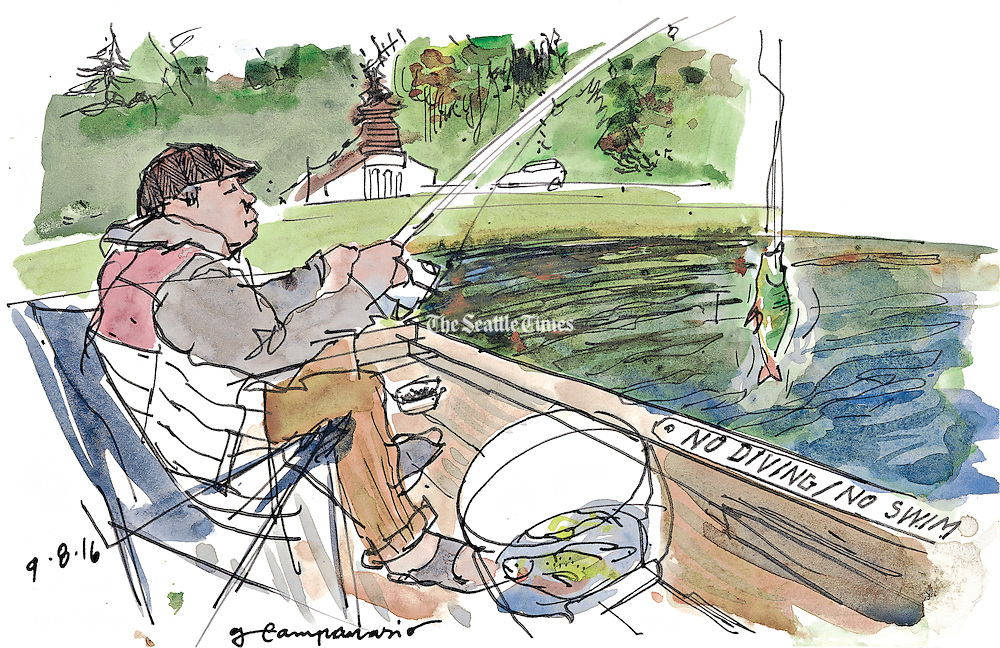 An urban fisherman enjoys a productive morning. (Gabriel Campanario / The Seattle Times)