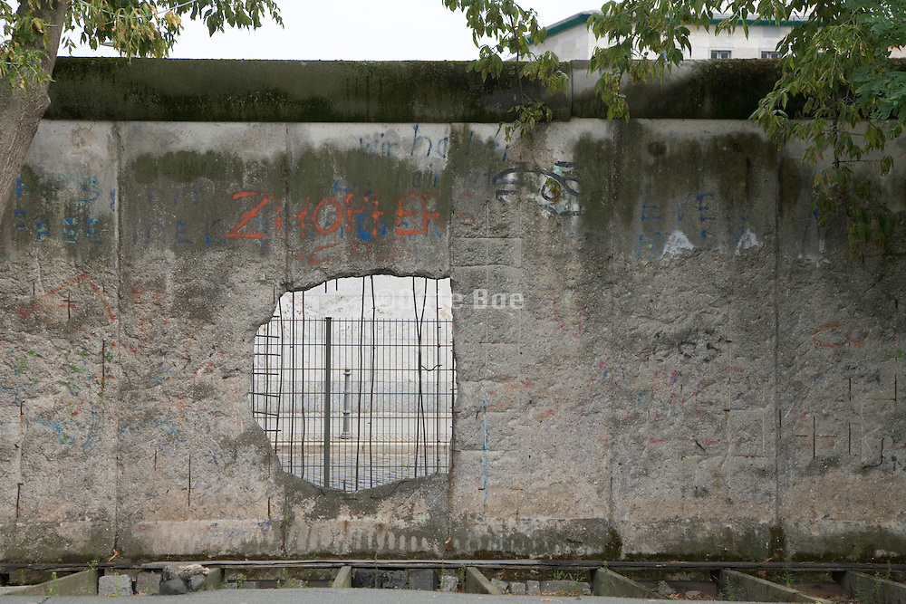 hole in Berlin Wall left untouched as a monument of the dividing
