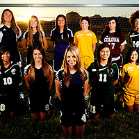 The Appeal-Democrat 2012-2013 Girls Soccer Team. Back row from left, Sutter High's Erika Linch, Sutter High's Kelsey Graham, Live Oak High's Clarissa Herrera, Yuba City High's Cassidy Fix, Colusa High's Rebecca Velazquez, and River Valley High's Jackie Koch. Front row from left, River Valley High's Jazzmyne Garcia, Sutter High's Jayden Montejano Sutter High's Jenna Lewis, River Valley High's Karinna Recendez, and Yuba City High's Kayla Howard. (Nate Chute/Appeal-Democrat)