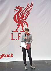 LIVERPOOL, ENGLAND - Friday, April 10, 2015: Liverpool FC's Claire Rourke on stage during the launch for the New Balance 2015/16 home kit at Anfield. (Pic by David Rawcliffe/Propaganda)
