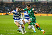 Sheffield Wednesday midfielder Jacob Murphy (14) goes past Queens Park Rangers defender Dominic Ball (12) during the The FA Cup match between Queens Park Rangers and Sheffield Wednesday at the Kiyan Prince Foundation Stadium, London, England on 24 January 2020.