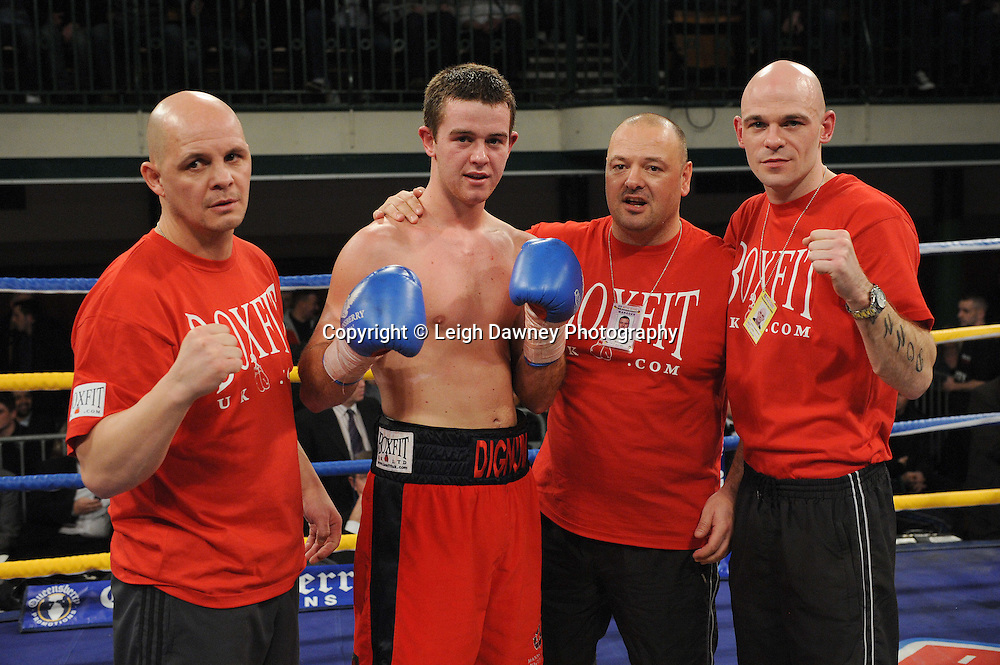John Dignum (with team) defeats Ryan Clark in 4x3 min Super-middleweight contest at York Hall, Bethnal Green, London on Friday 13th January 2012. Queensbury Promotions © Leigh Dawney 2012