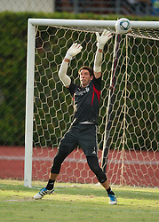 SINGAPORE, SINGAPORE - Sunday, July 17, 2011: Liverpool's goalkeeper Brad Jones during an exhibition training session at the Bishan Stadium in Singapore on day seven of the club's preseason Asia Tour. (Photo by David Rawcliffe/Propaganda)