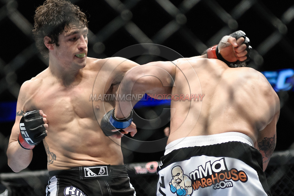 "LONDON, ENGLAND, FEBRUARY 21, 2009: Diego Sanchez (left) and Joe Stevenson during ""UFC 95: Sanchez vs. Stevenson"" inside the O2 Arena in Greenwich, London."