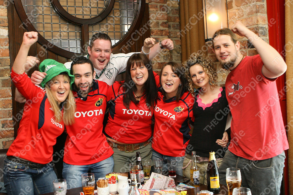 24/05/08<br />Munster Fans, Aoife Downes, Eoin Driver, Padraig McGrath, Louise Corbett, Michelle Doherty, Vicky McDonagh and Daniel Roche watching the Heineken Cup Final in Clohesseys Bar, Limerick today.<br />Pic: Don Moloney/Press 22