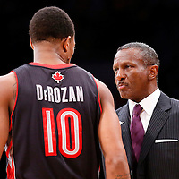 08 December 2013: Toronto Raptors head coach Dwane Casey talks to Toronto Raptors shooting guard DeMar DeRozan (10) during the Toronto Raptors 106-94 victory over the Los Angeles Lakers at the Staples Center, Los Angeles, California, USA.