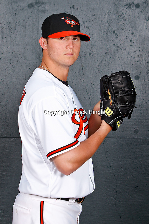 February 26, 2011; Sarasota, FL, USA; Baltimore Orioles starting pitcher Zach Britton (53) poses during photo day at Ed Smith Stadium.  Mandatory Credit: Derick E. Hingle