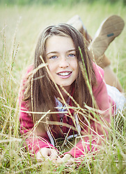 Girl in a hayfield - a Sunday early morning in Salthouse