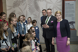 April 26, 2018 - Berlin, Germany - Director of Berlin's Museum for Natural History Berlin Johannes Vogel (2R) and German Family Minister Franziska Giffey (R) speak to a group of girls during her visit to the Museum for Natural History for the annual Girls' Day in Berlin, Germany on April 26, 2018. The Girls' day event is hold this year for the 18th time and is meant to encourage young girls to consider a wider range of possible carreers for her future. (Credit Image: © Emmanuele Contini/NurPhoto via ZUMA Press)