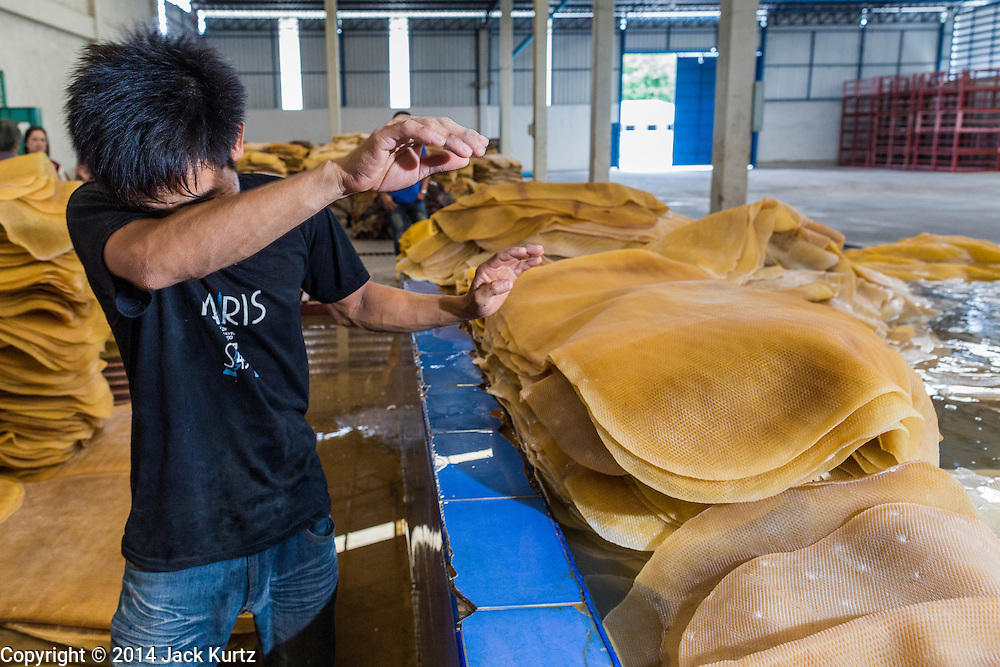 02 SEPTEMBER 2014 - BO THONG, CHONBURI, THAILAND: A worker at Bothong Rubber Fund Cooperative in Bo Thong, Chonburi, Thailand, wipes his brow while he stacks rubber sheets purchased from area farmers before the sheets were washed. Thailand is the leading rubber exporter in the world. In the last two years, the price paid to rubber farmers has plunged from approximately 190 Baht per kilo (about $6.10 US) to 52 Baht per kilo (about $1.60 US). It costs about 65 Baht per kilo to produce rubber ($2.05 US). A rubber farmer in southern Thailand committed suicide over the weekend, allegedly because the low prices meant he couldn't provide for his family. Other rubber farmers have taken jobs in the construction trade or in Bangkok to provide for their families during the slump.    PHOTO BY JACK KURTZ