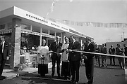 09/08/1967<br /> 08/09/1967<br /> 09 August 1967<br /> Opening of new Esso Service Station at Dean's Grange, Dublin. The site was originally a sculptures yard was a 2-bay service station with the latest equipment. It was to be a 24 hours station and a 5-minute Car Wash and Electronic Tuning was available.  Picture shows Mr. P.J. Burke T.D, (2nd right), Chairman, Dublin County Council, cutting the tape to officially open the station with (from left) Mr. G. Gibbons Clerk; Mr. F.E. Morton, Branch Manager North, Esso; Rev. Fr. M.J. Mahon, C.C. Foxrock who blessed the station and Mr. R.A. Drew, Field Sales Manager, Esso.