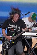 DAYTONA BEACH, FLA. -- Robby Takac of the Goo Goo Dolls at the Dale Earnhardt Tribute concert at the Daytona International Speedway in Daytona Beach, Fla....©2003 Scott A. Miller