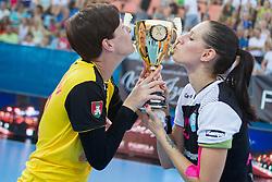 Sergeja Stefanisin and Alja Koren #20 of RK Krim Mercator celebrates after handball match between RK Krim Mercator vs ZRK Zelene Doline Zalec of Super Cup 2015, on August 29, 2015 in SRC Marina, Portoroz / Portorose, Slovenia. Photo by Urban Urbanc / Sportida