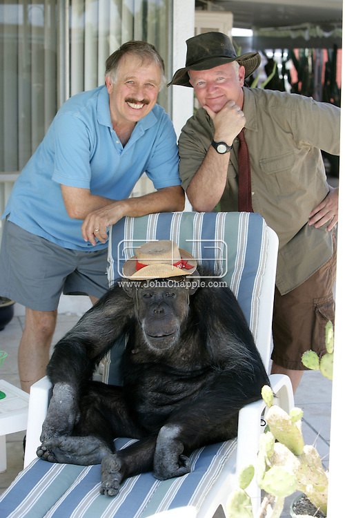EXCLUSIVE 24th June 2008, Palm Springs, California.  Cheeta's owner Dan Westfall (left) with filmmaker and campaign manager Matthew Devlen (right), of the &quot;Go Cheeta&quot; campaign, who are trying to get Cheeta the 76-year-old Chimp a star on the Hollywood Walk of Fame. Cheeta was the star of many Hollywood Tarzan films of the 1930s and 1940s,  PHOTO &copy; JOHN CHAPPLE / www.johnchapple.com<br /> tel: +1-310-570-9100