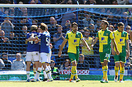 The Norwich players look dejected as Leighton Baines of Everton celebrates scoring his sides 2nd goal from the penalty spot during the Barclays Premier League match at Goodison Park, Liverpool<br /> Picture by Paul Chesterton/Focus Images Ltd +44 7904 640267<br /> 15/05/2016